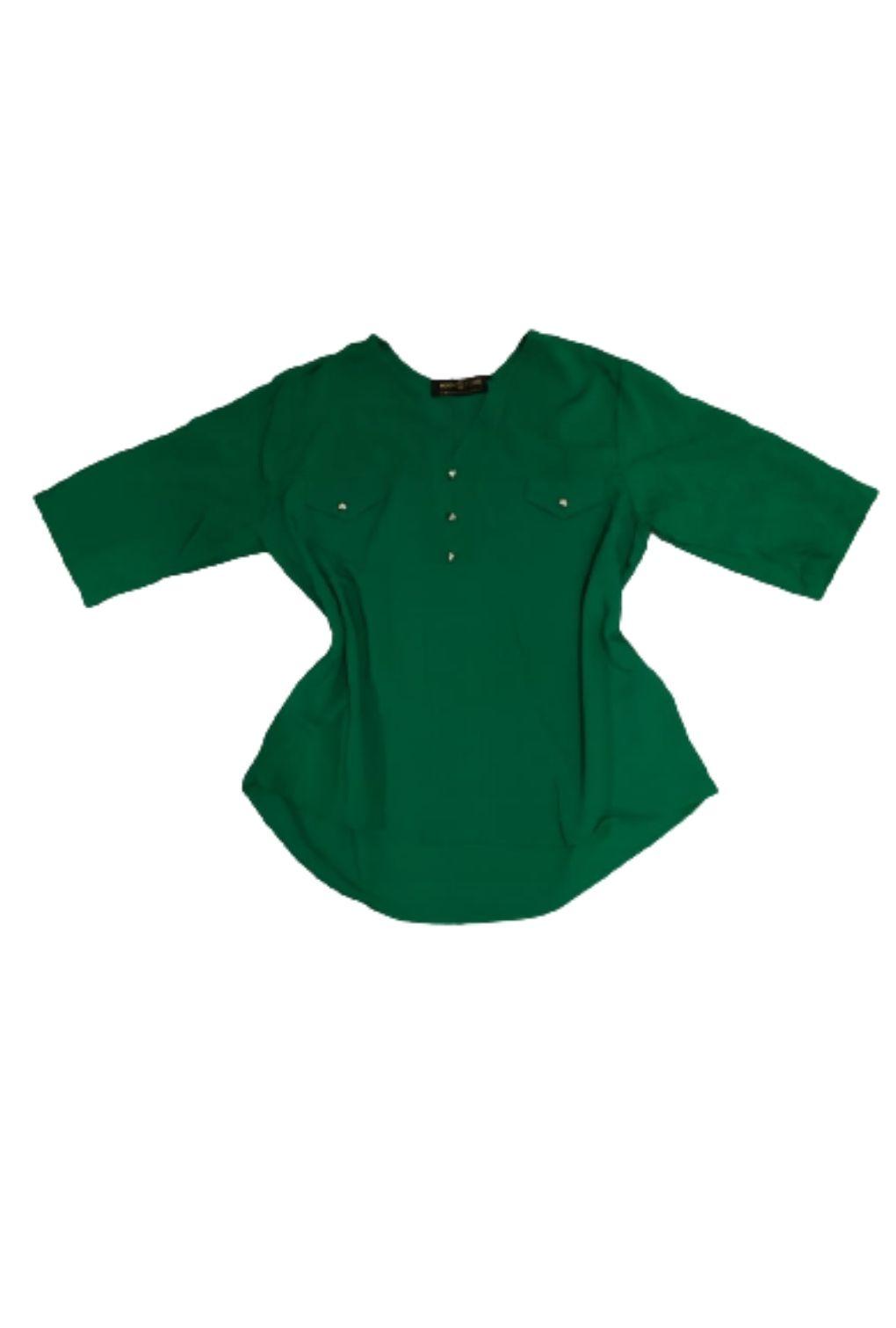 Camisa Blusa Feminina Manga Curta Social Verde Bandeira  - ModaStore | Moda Feminina