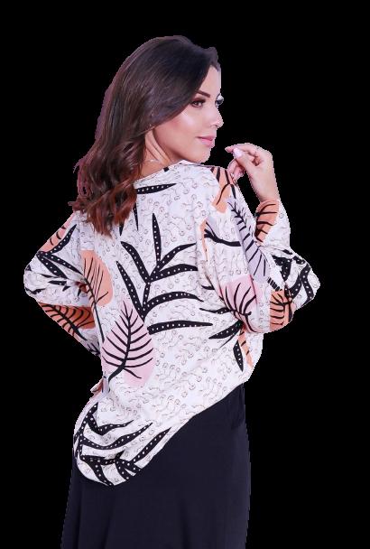 Camisa Blusa Feminina Manga Flare Social Sport Floral  - ModaStore