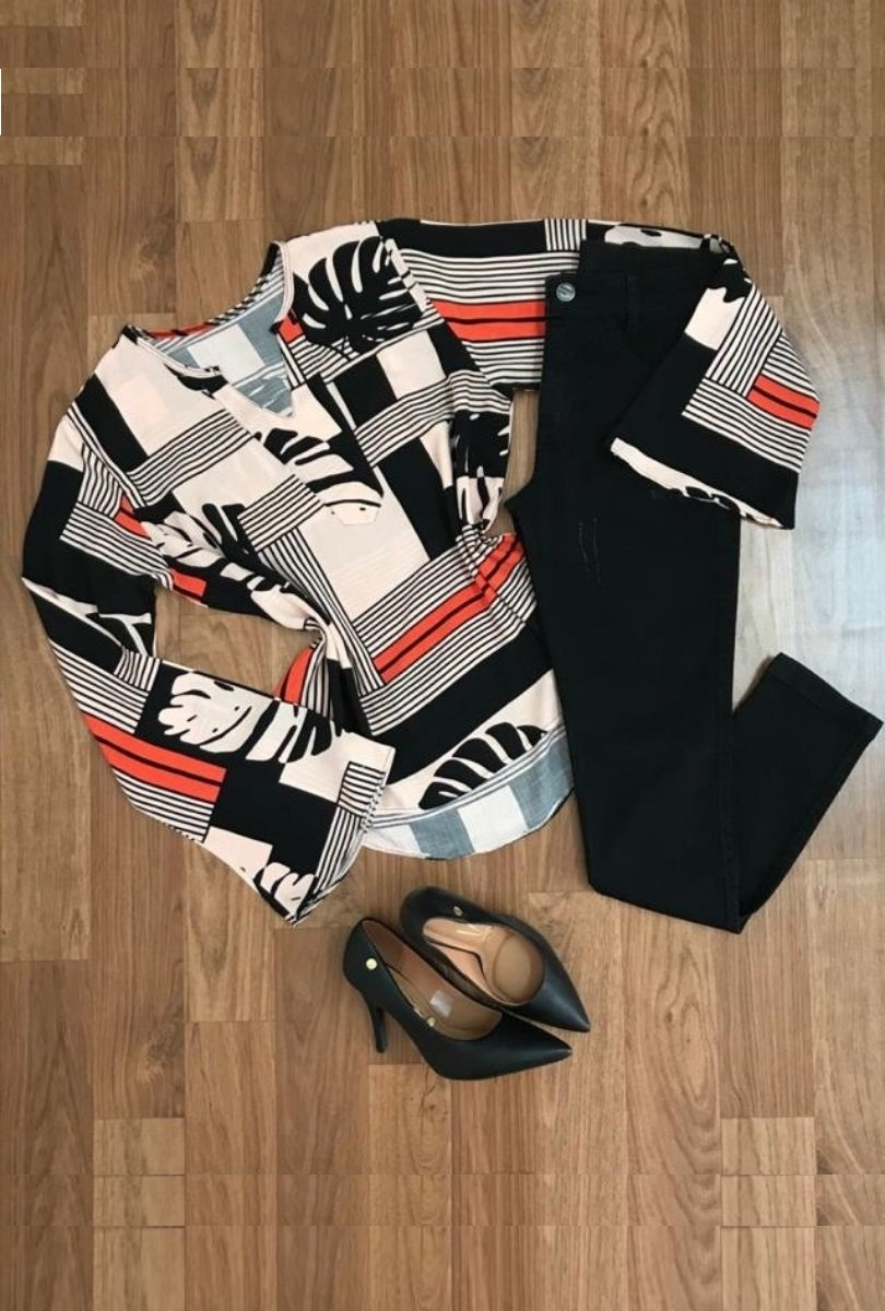 Camisa Blusa Feminina Manga Flare Social Sport Listras  - ModaStore