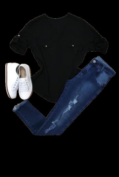 Camisa Blusa Feminina Manga Curta Social Lisa  - ModaStore