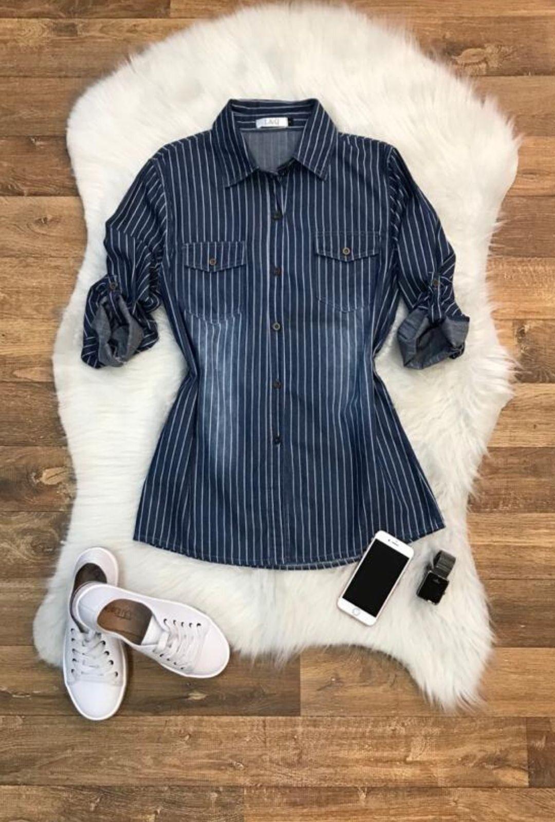 Camisa Blusa Feminina Jeans Listra  - ModaStore