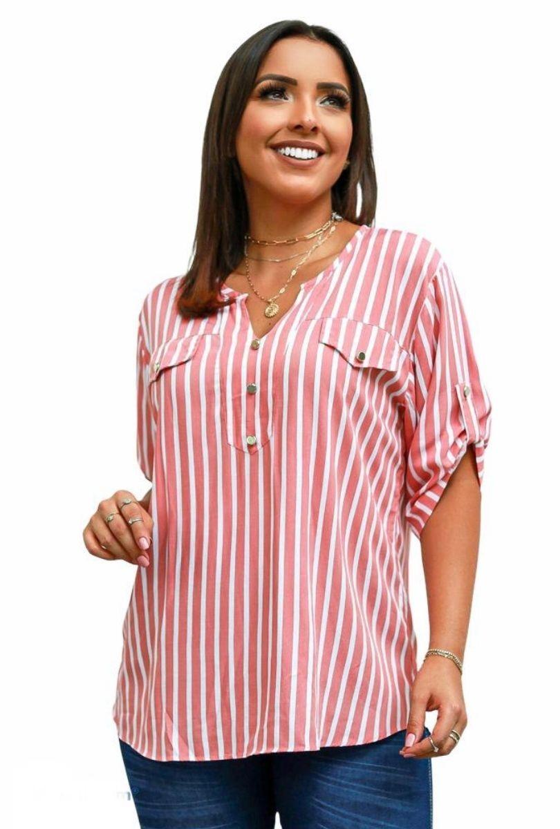 Camisa Blusa Feminina Manga Curta Social Sport  - ModaStore   Moda Feminina