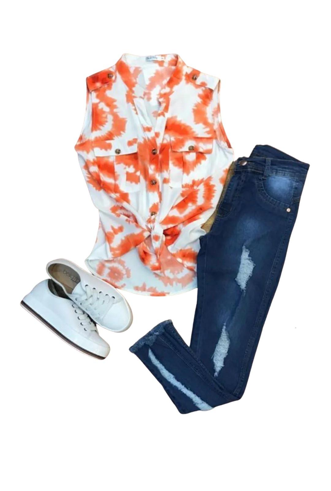 Camisa Tie Dye Regata feminina  - ModaStore | Moda Feminina