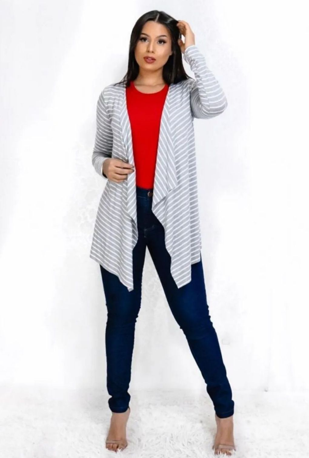 Cardigan Casaco Feminino Assimétrico Listras  - ModaStore | Moda Feminina