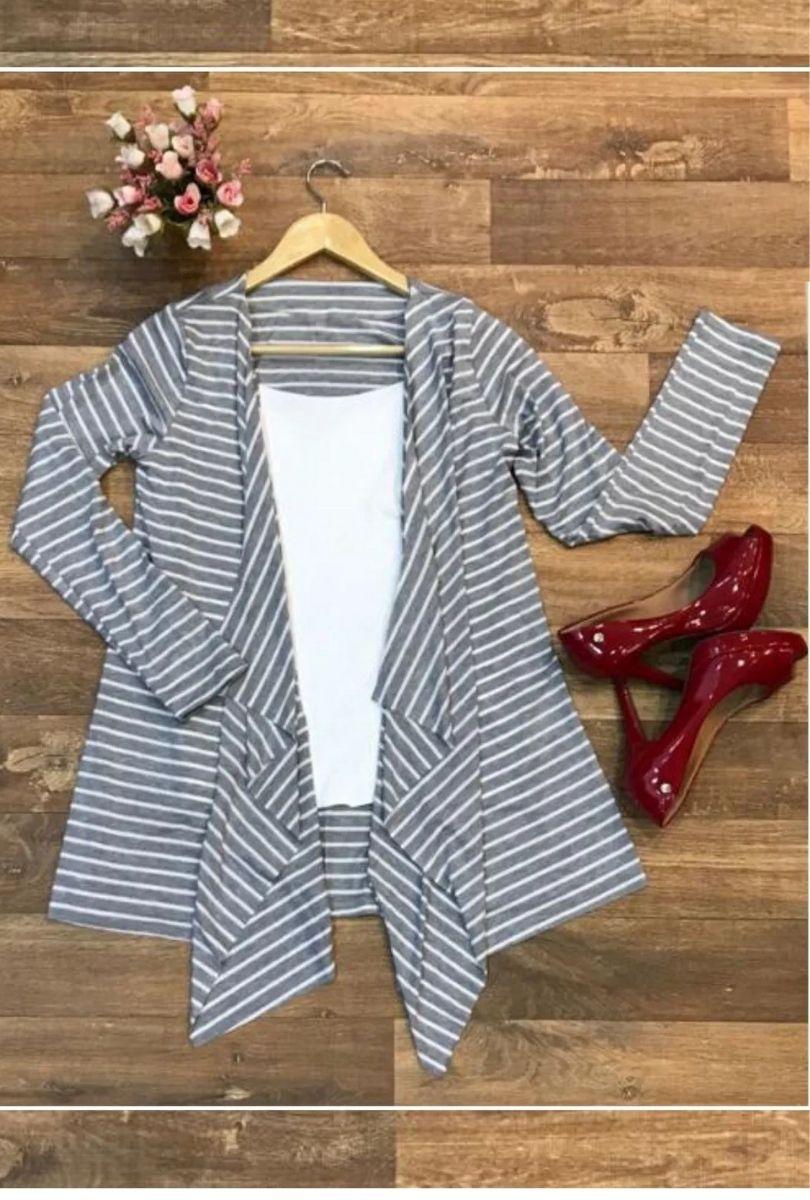 Cardigan Casaco Feminino Assimétrico Listras  - ModaStore