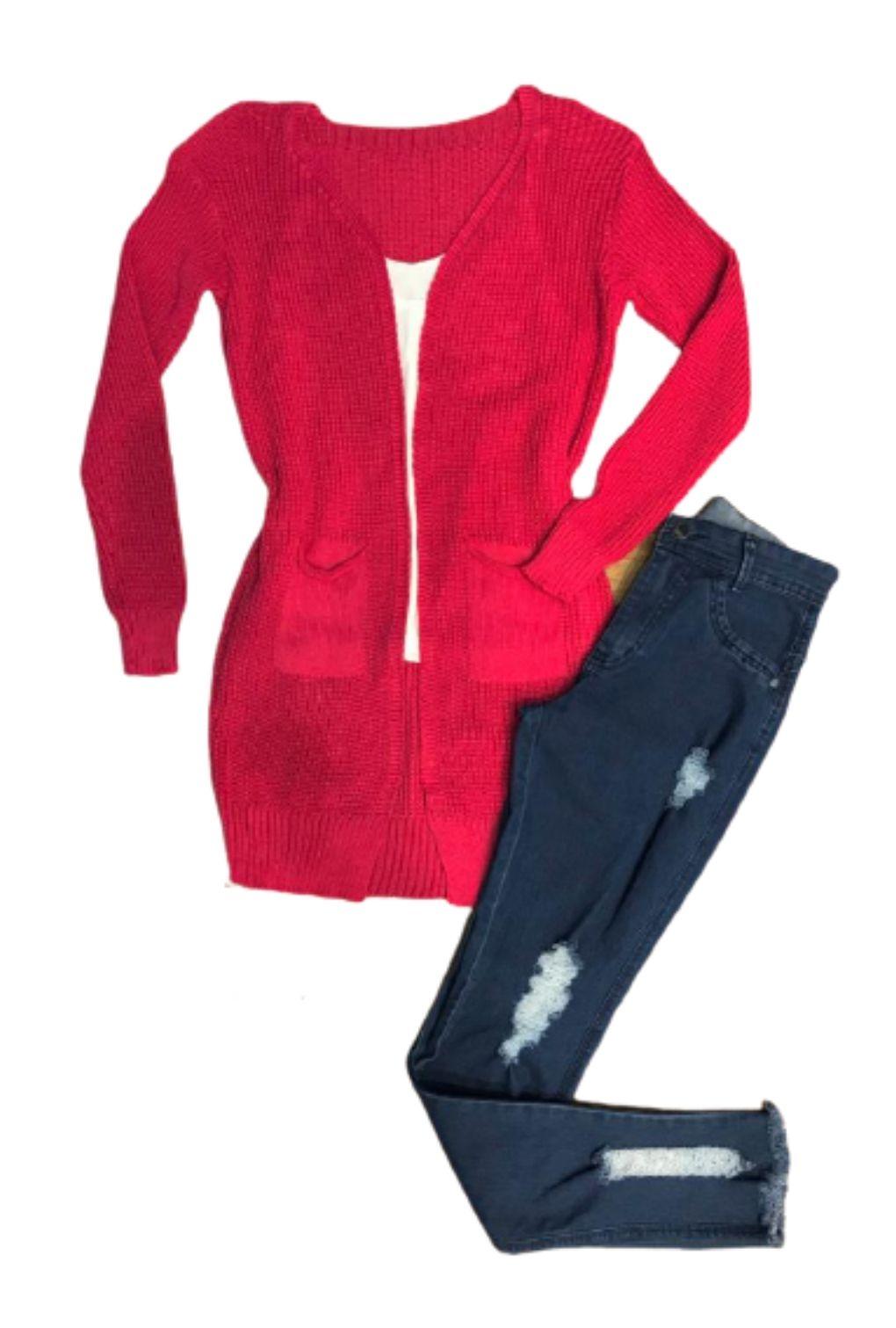 Casaco Cardigan Inverno Feminino Liso Aberto com Bolso  - ModaStore | Moda Feminina