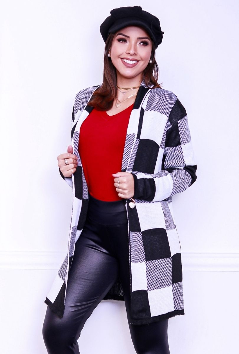 Casaco Cardigan Sobretudo Feminino Tricot Inverno Aberto Xadrez  - ModaStore