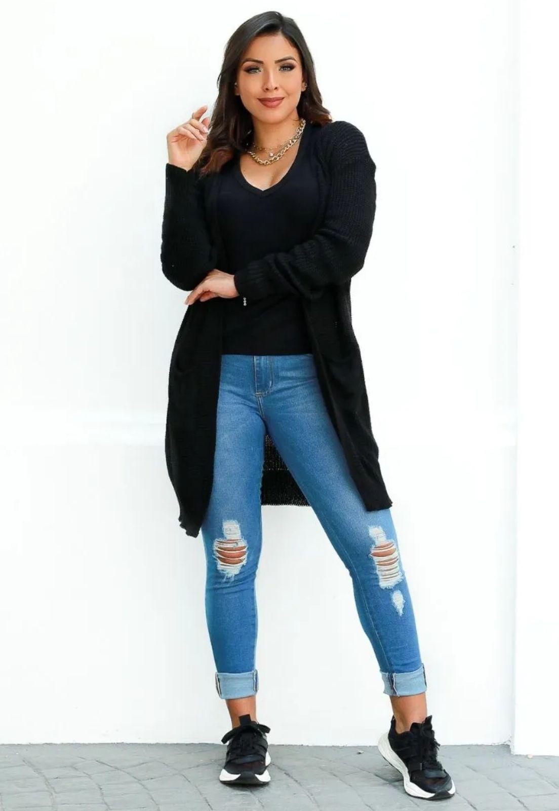 Casaco Cardigan Inverno Feminino Liso Aberto com Bolso  - ModaStore