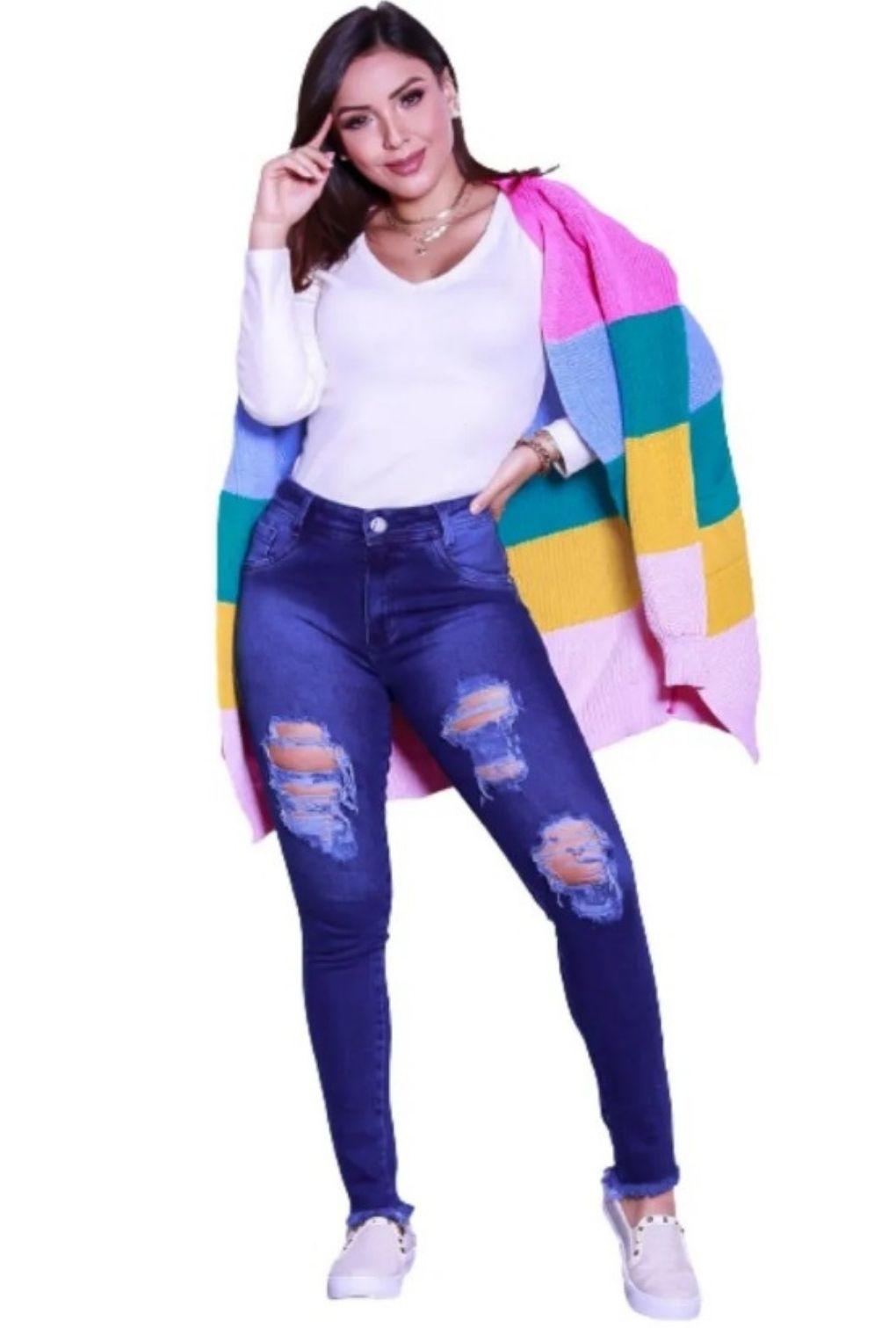 Casaco Inverno Feminino Listrado Colorido Rainbow com Bolso  - ModaStore