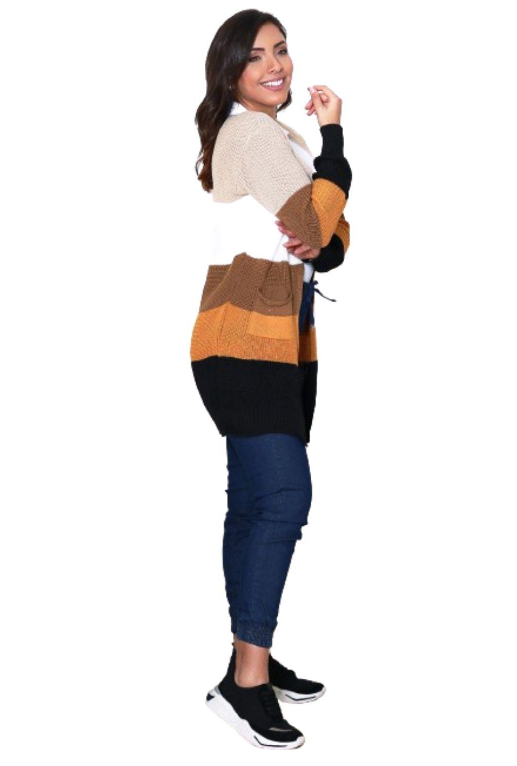 Casaco Inverno Feminino Listrado Colorido Rainbow com Bolso  - ModaStore | Moda Feminina