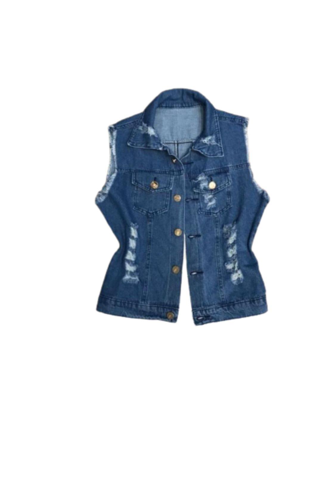Colete Curto Jeans Feminino com Botões   - ModaStore