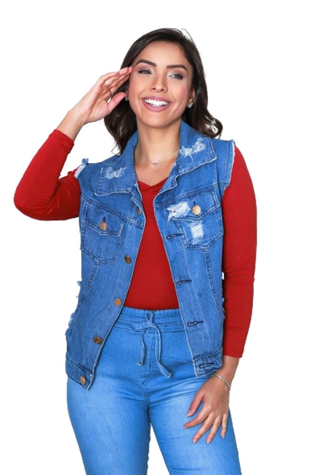 Colete Curto Jeans Feminino com Botões  - ModaStore   Moda Feminina