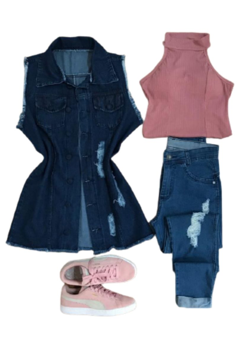Max Colete Jeans Comprido Feminino Destroyed Tendência   - ModaStore