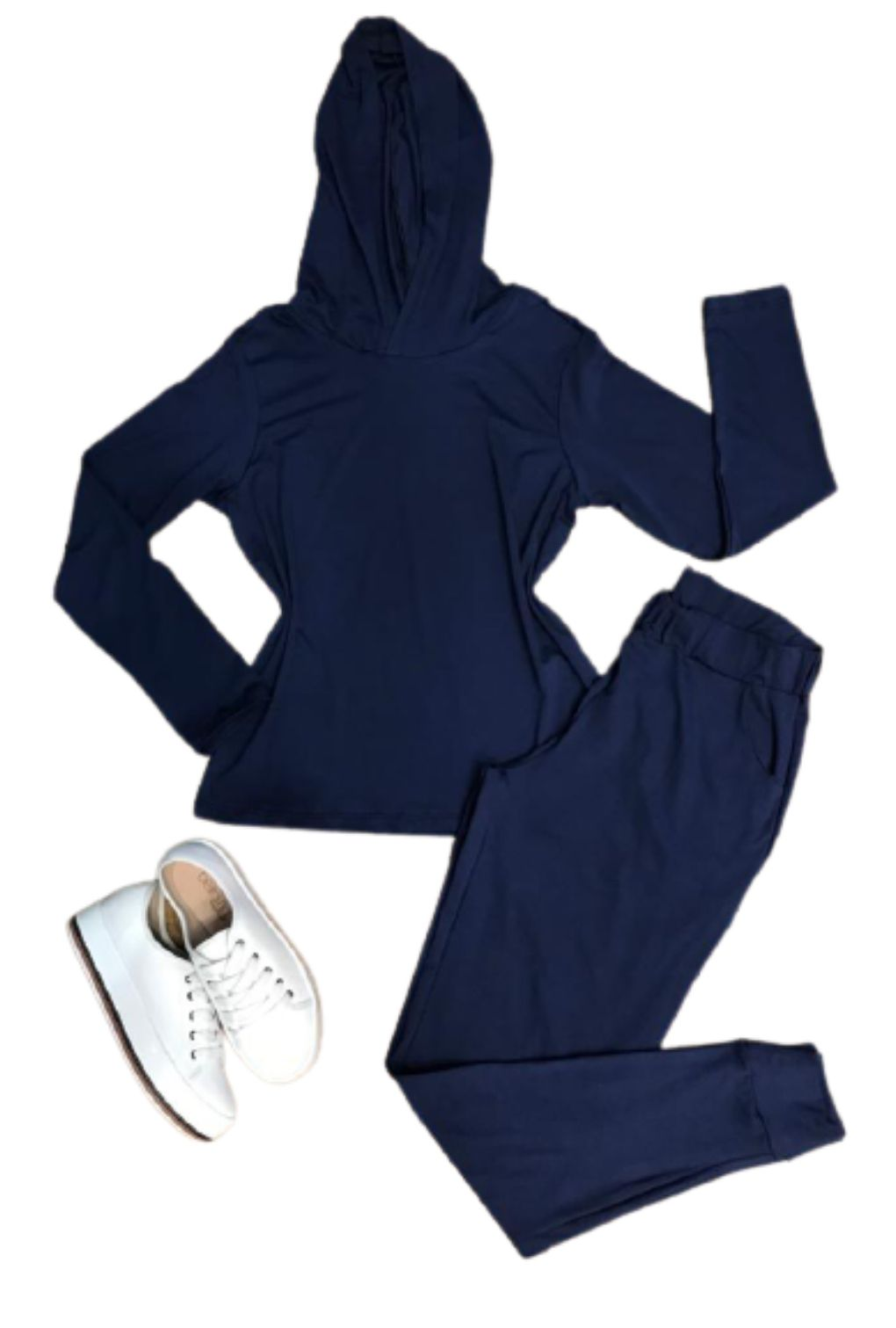 Conjunto Feminino Casaco e Calça Malha Capuz   - ModaStore