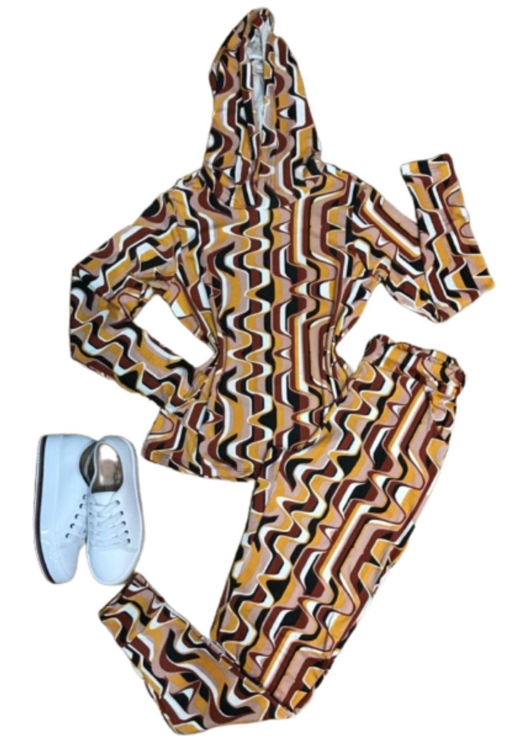 Conjunto Feminino Casaco e Calça Malha Capuz  - ModaStore | Moda Feminina