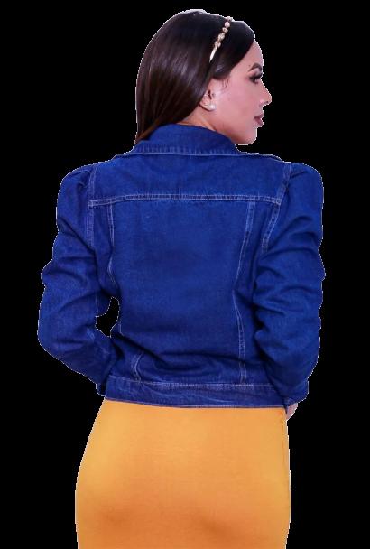 Jaqueta Jeans Feminina Botão Encapado Manga Bufante Blogueira  - ModaStore | Moda Feminina