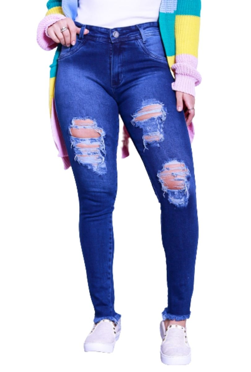 Kit 03 Calça Jeans Feminina Destroyed Barra Desfiada  - ModaStore