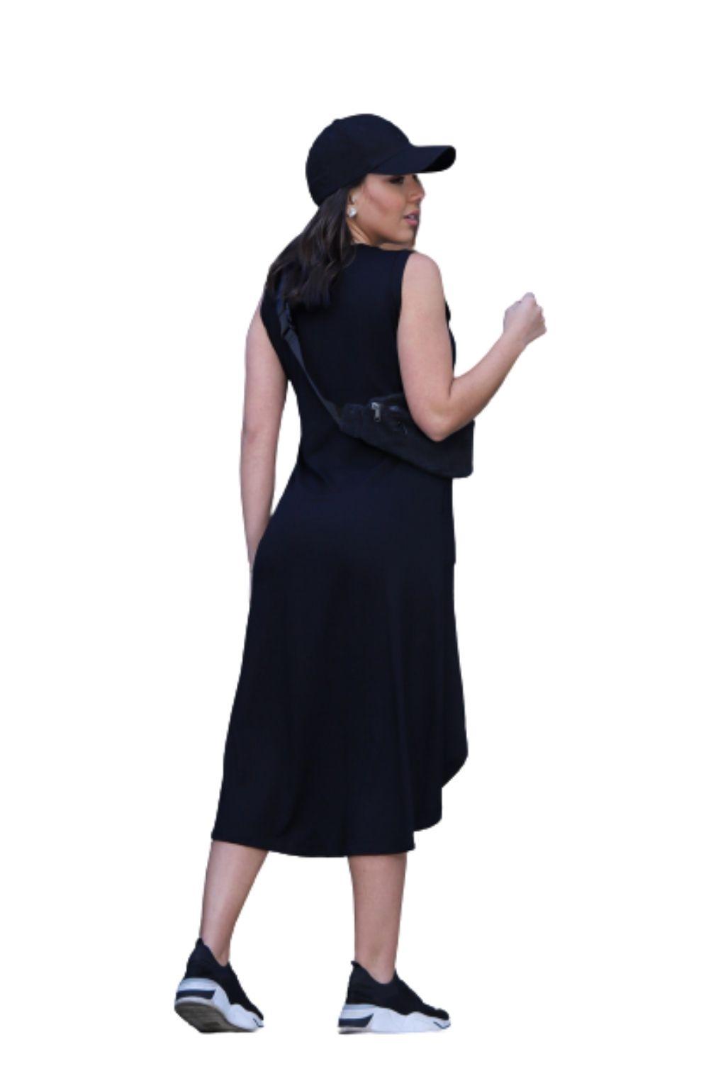 Kit Com 02 Vestidos Malha Feminino Regata Midi Mullet  - ModaStore   Moda Feminina