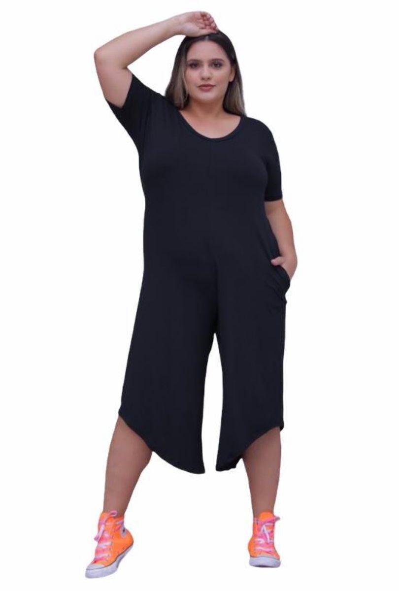 Macacão Assimétrico Feminino Plus Size Pantacourt  - ModaStore