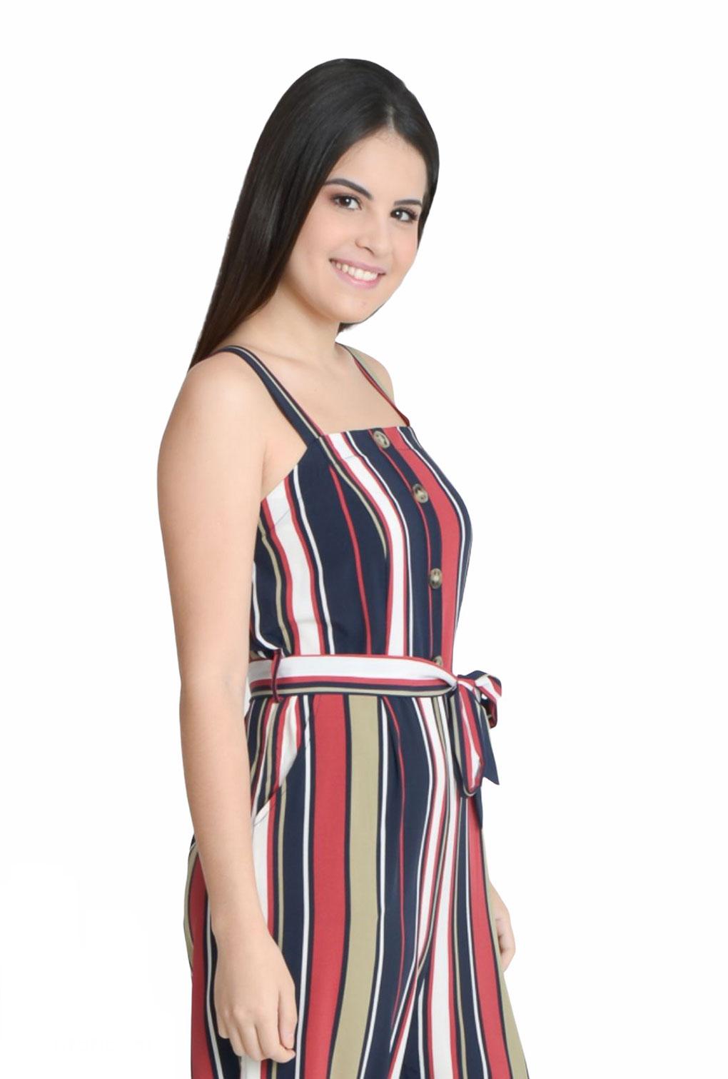 Macacão De Alcinha Listrado Gabi  - ModaStore | Moda Feminina