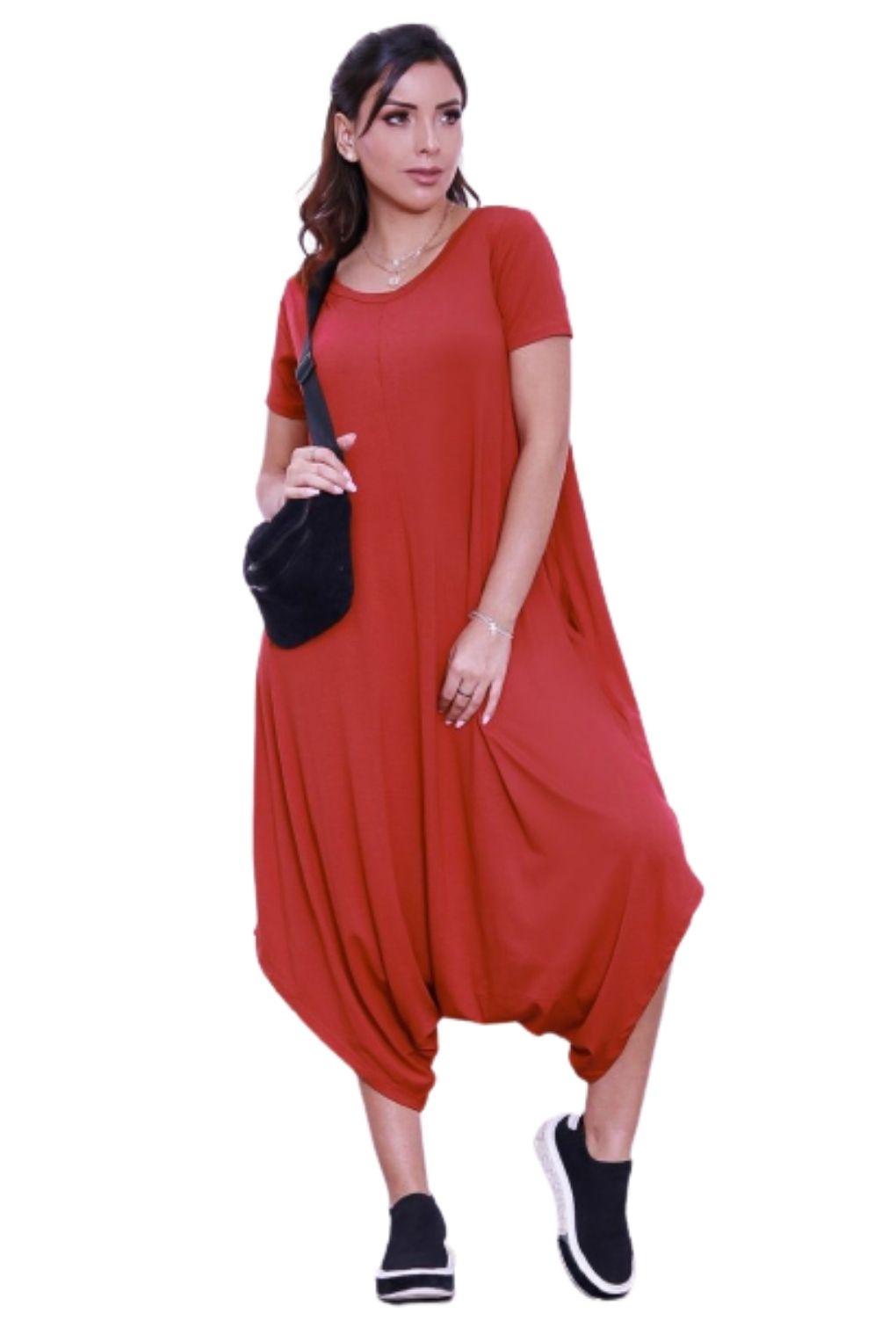 Macacão Saruel Feminino  Viscolycra Com Bolso  - ModaStore | Moda Feminina