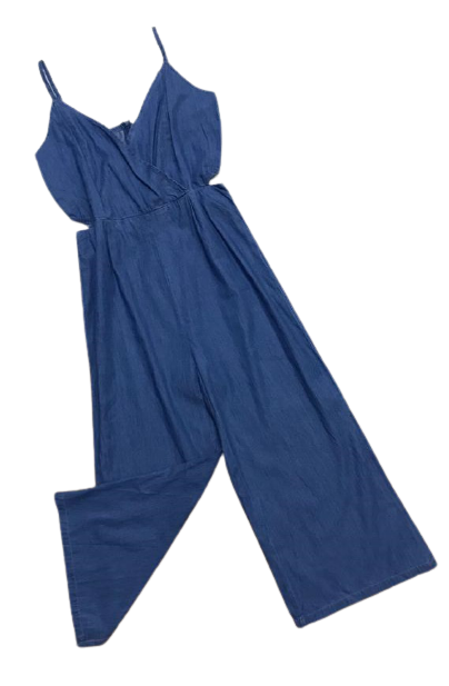 Macacão Jeans Alcinha Decote Transpassado Abertura  - ModaStore