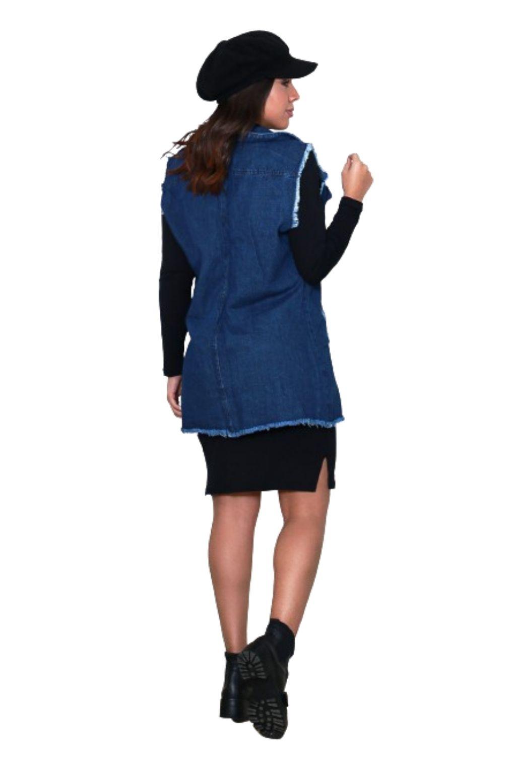 Max Colete Jeans Comprido Feminino Destroyed Tendência  - ModaStore   Moda Feminina
