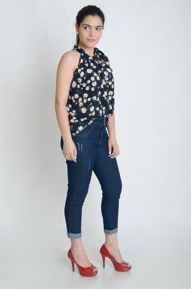 Blusa Camisa Regata Feminina Laço Pescoço Gola Alta Social Azul Marinho Estampada  - ModaStore   Moda Feminina