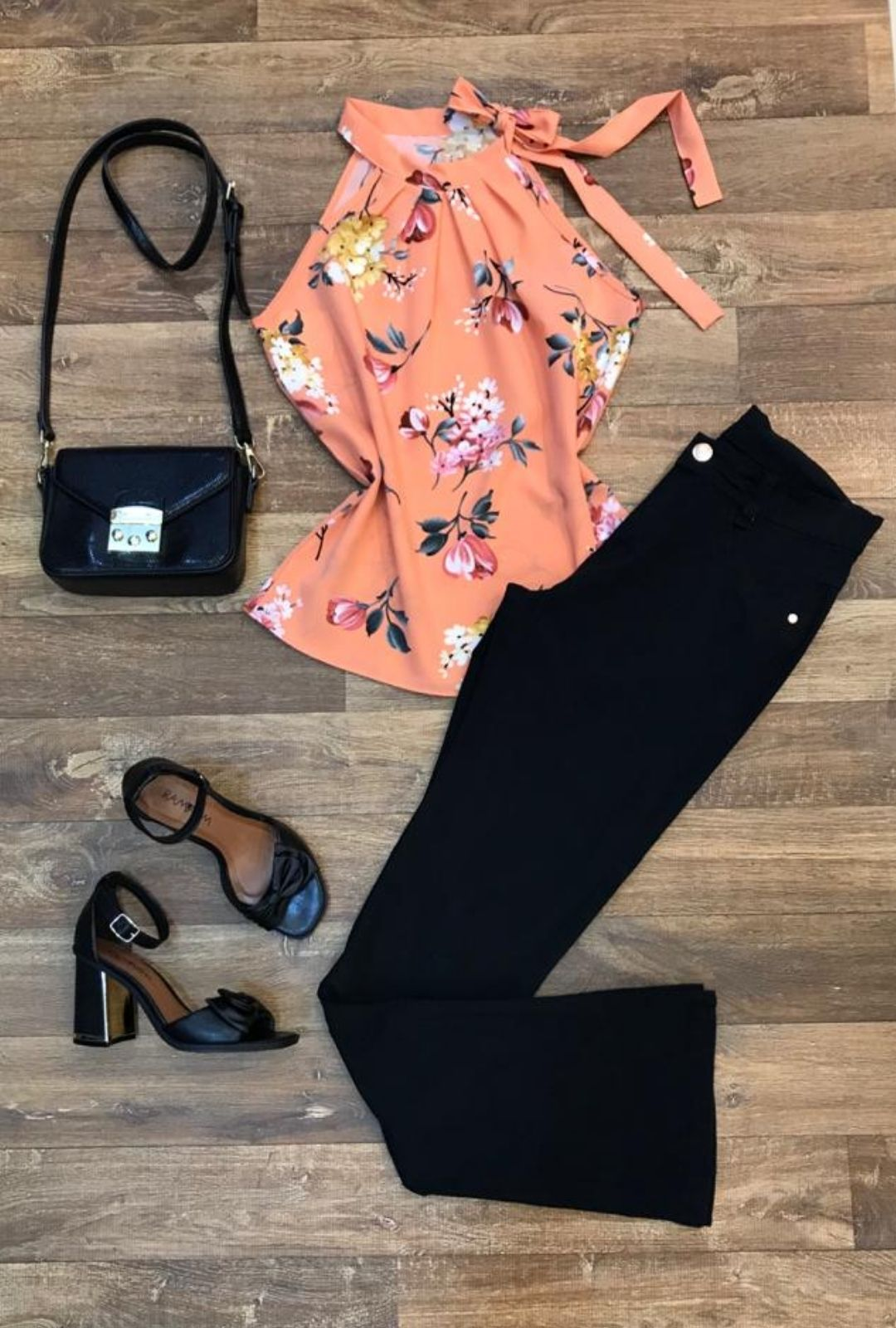 Blusa Camisa Regata Feminina Laço Pescoço Gola Alta Social Laranja  - ModaStore | Moda Feminina