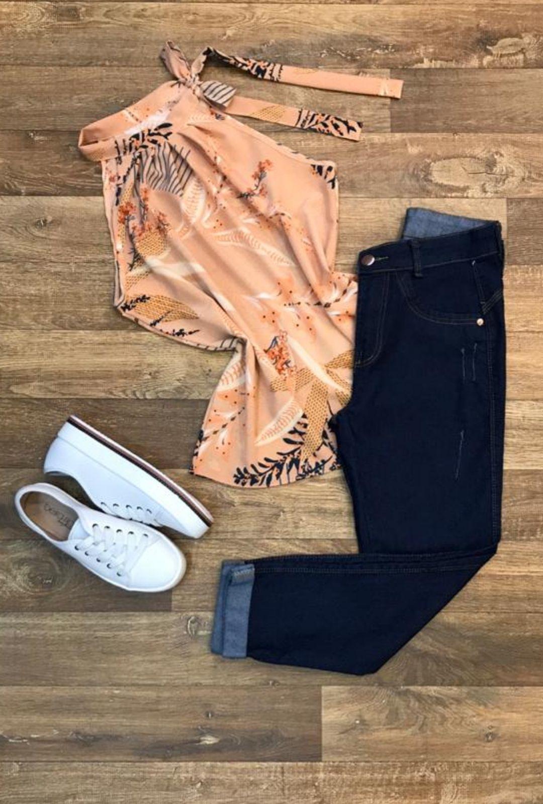 Blusa Camisa Regata Feminina Laço Pescoço Gola Alta Social Caramelo  - ModaStore