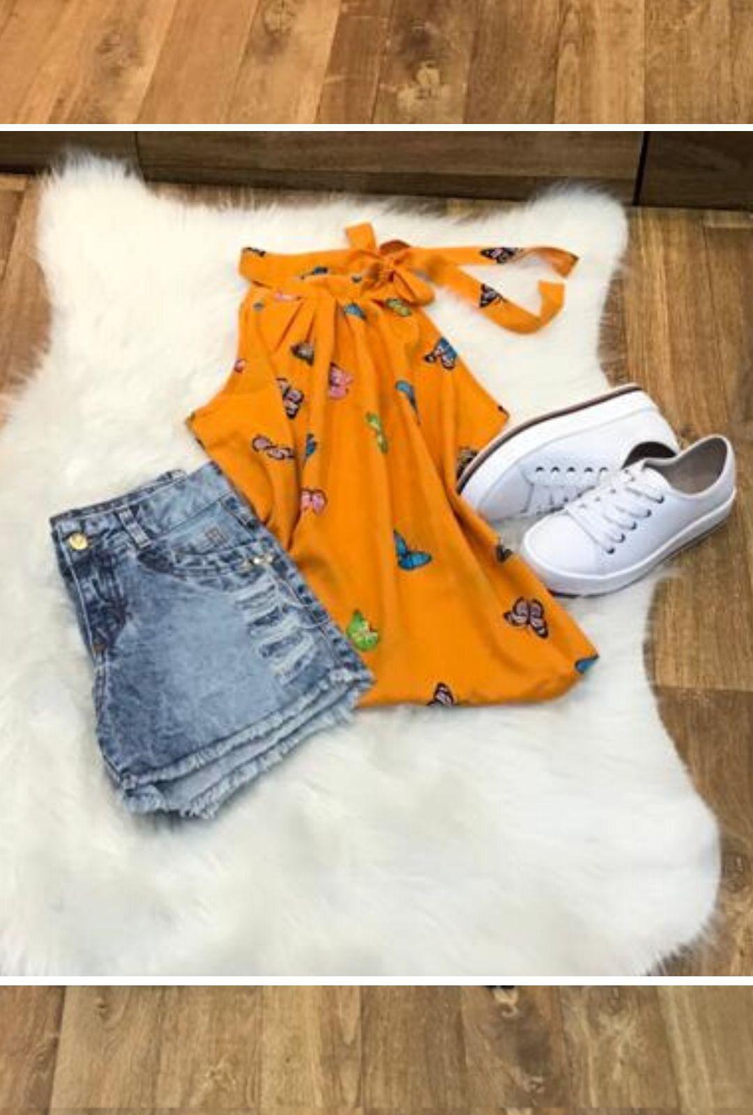 Blusa Camisa Regata Feminina Laço Pescoço Gola Alta Social Laranja Estampada  - ModaStore | Moda Feminina