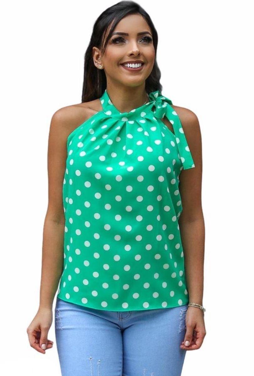 Blusa Camisa Regata Feminina Laço Pescoço Gola Alta Social Verde  - ModaStore