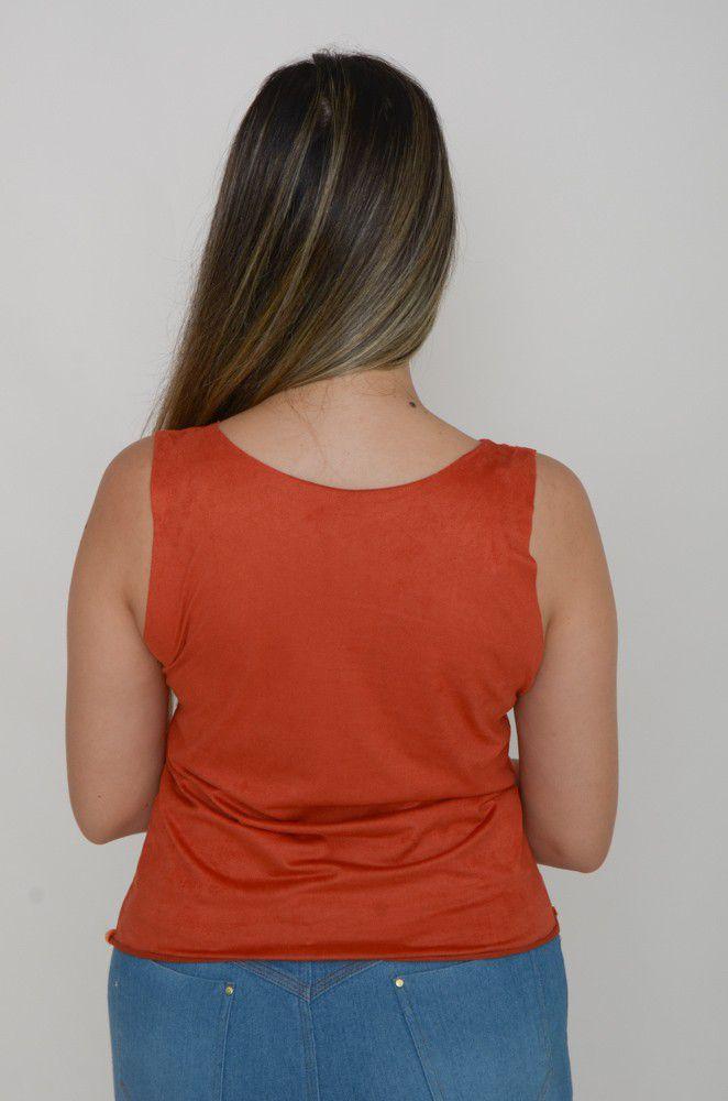 Blusa Regata Tecido Suede Feminina  - ModaStore