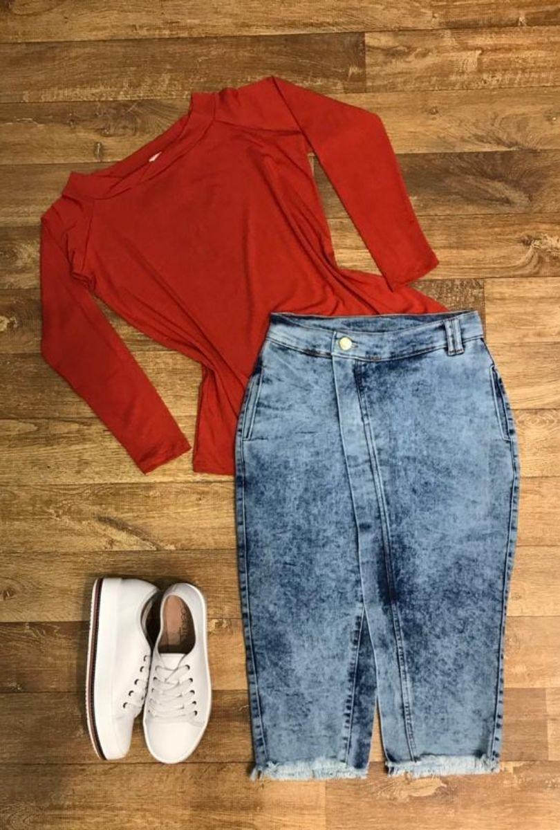 Saia Feminina Jeans Midi com Bolso e Fenda Lateral  - ModaStore