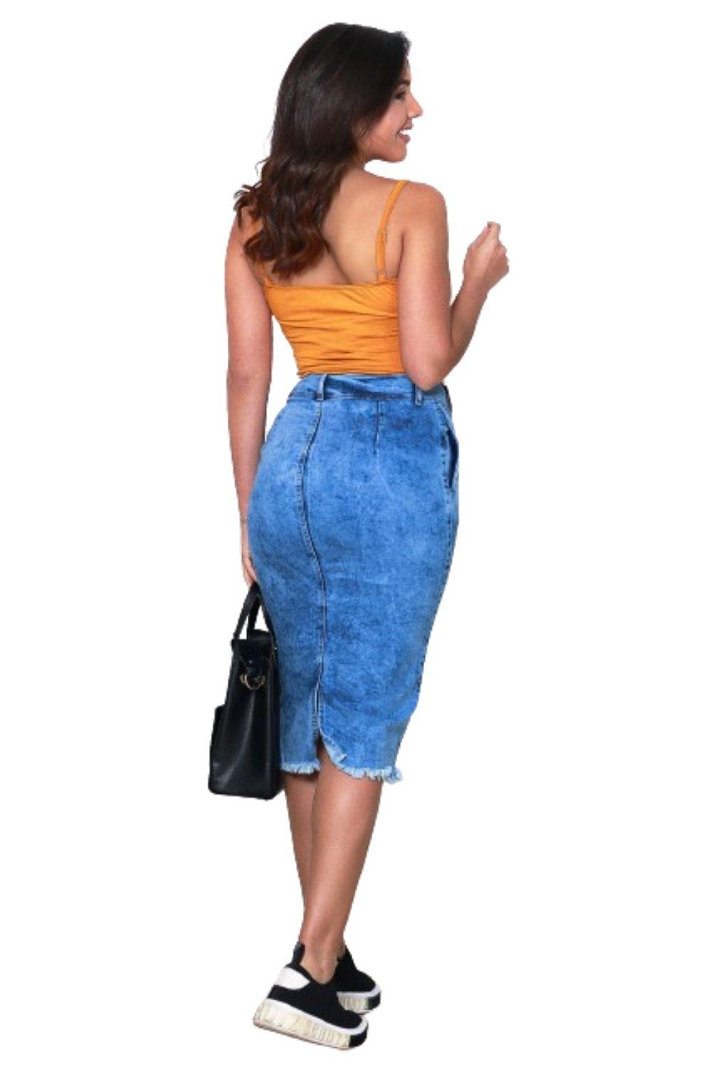 Saia Feminina Jeans Midi com Bolso e Fenda Frontal  - ModaStore   Moda Feminina