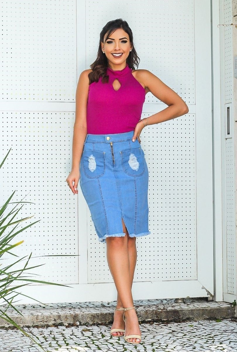 Saia Jeans Bolso Destroyed Frontal  - ModaStore