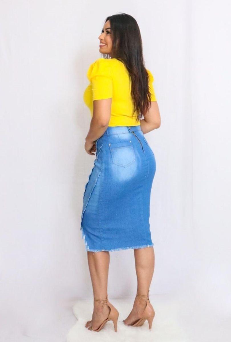 Saia Jeans Claro Bico Destroyed  - ModaStore