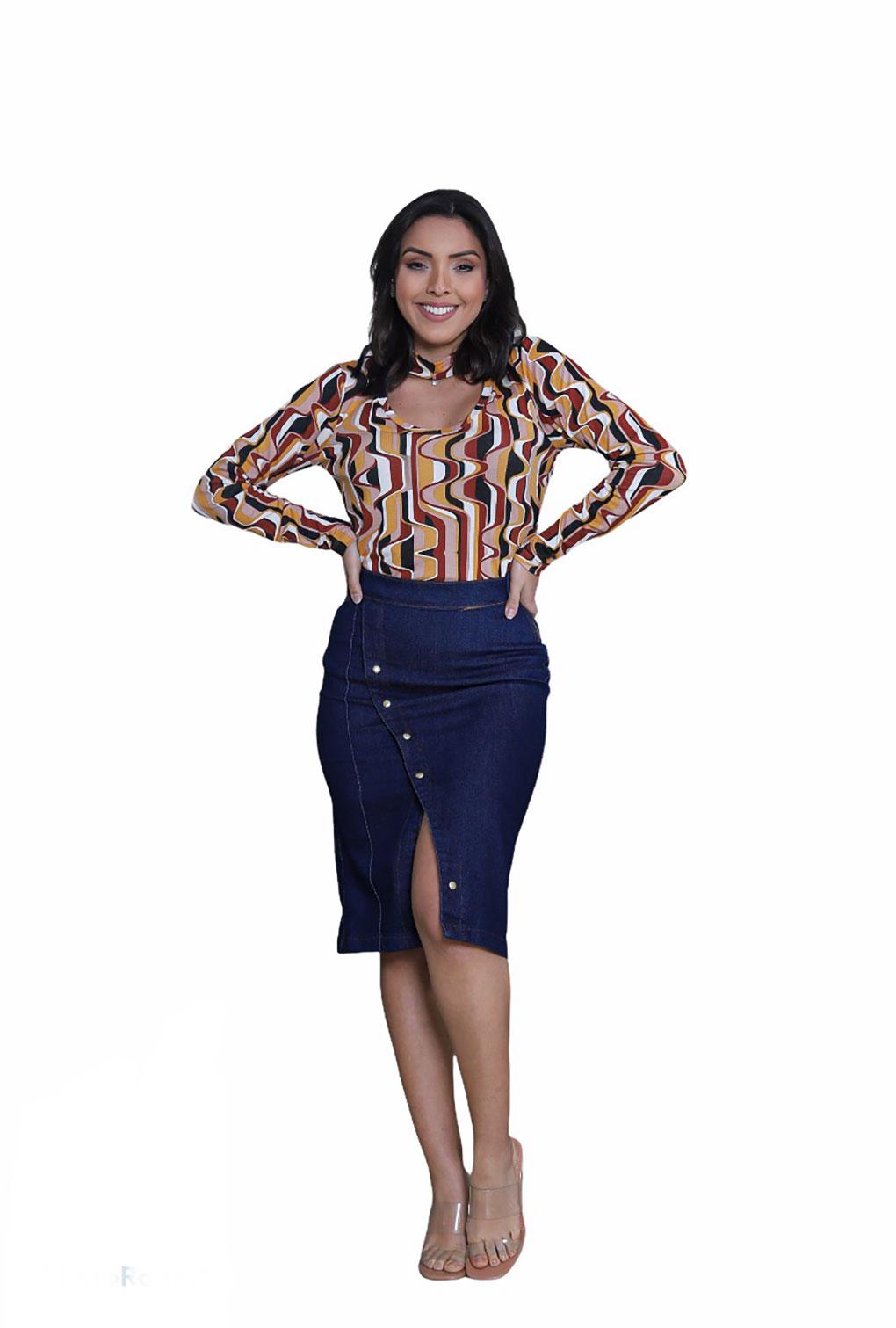 Saia Jeans Com Fenda Transversal Midi Moda Evangélica  - ModaStore   Moda Feminina