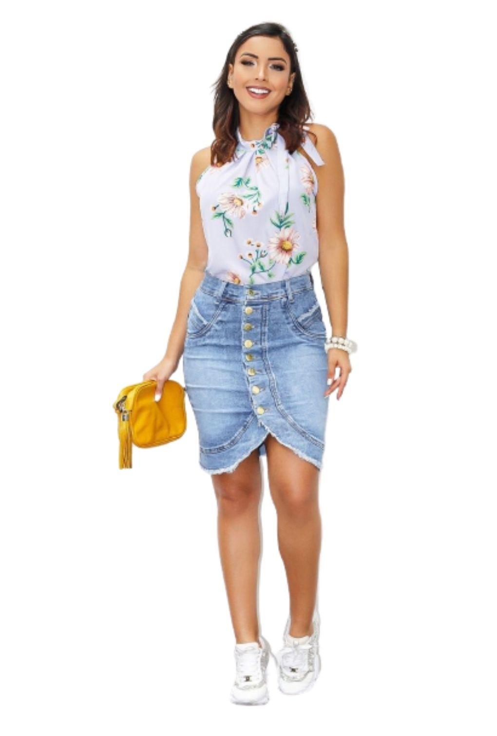 Saia Jeans Feminina Botões Frontal Abertura  - ModaStore | Moda Feminina