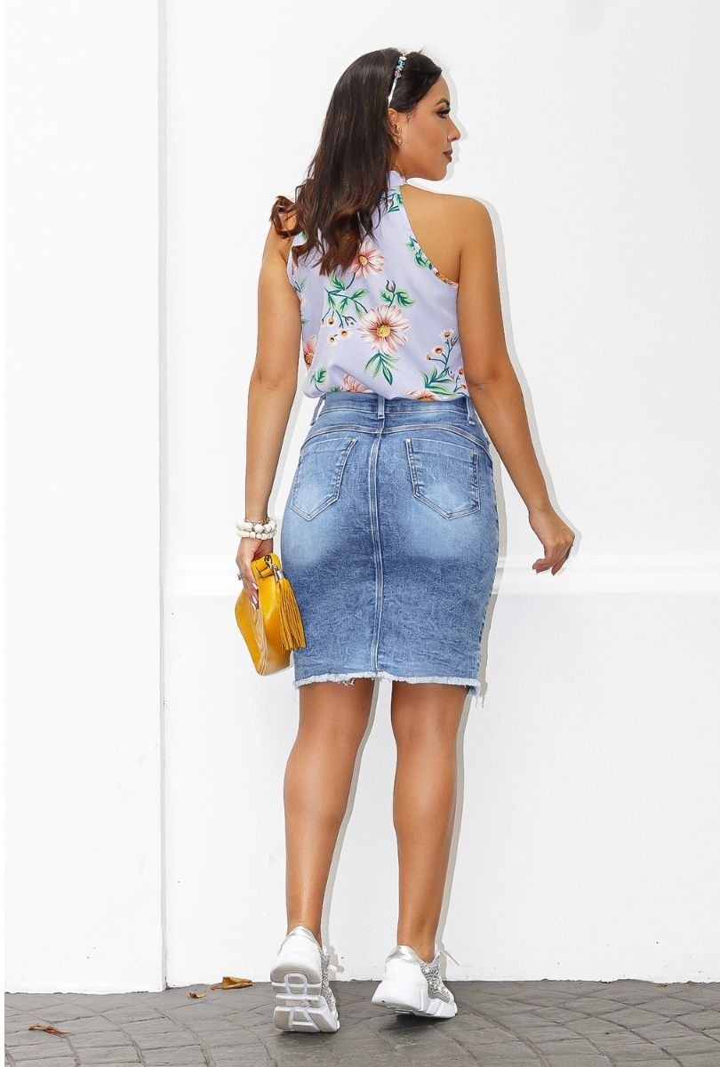 Saia Jeans Feminina Botões Frontal Abertura  - ModaStore