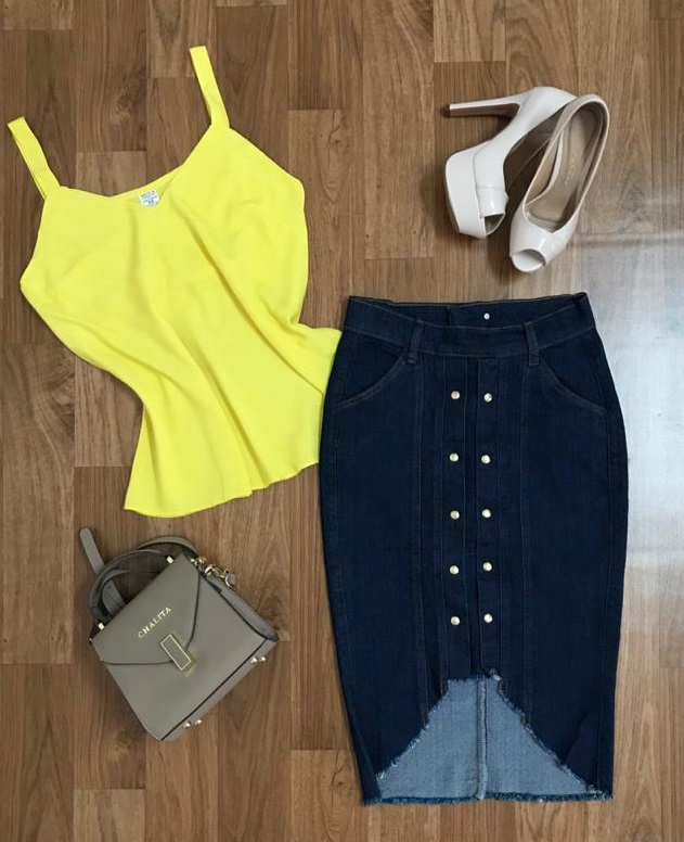 Saia Jeans Feminina Detalhe Frontal  - ModaStore