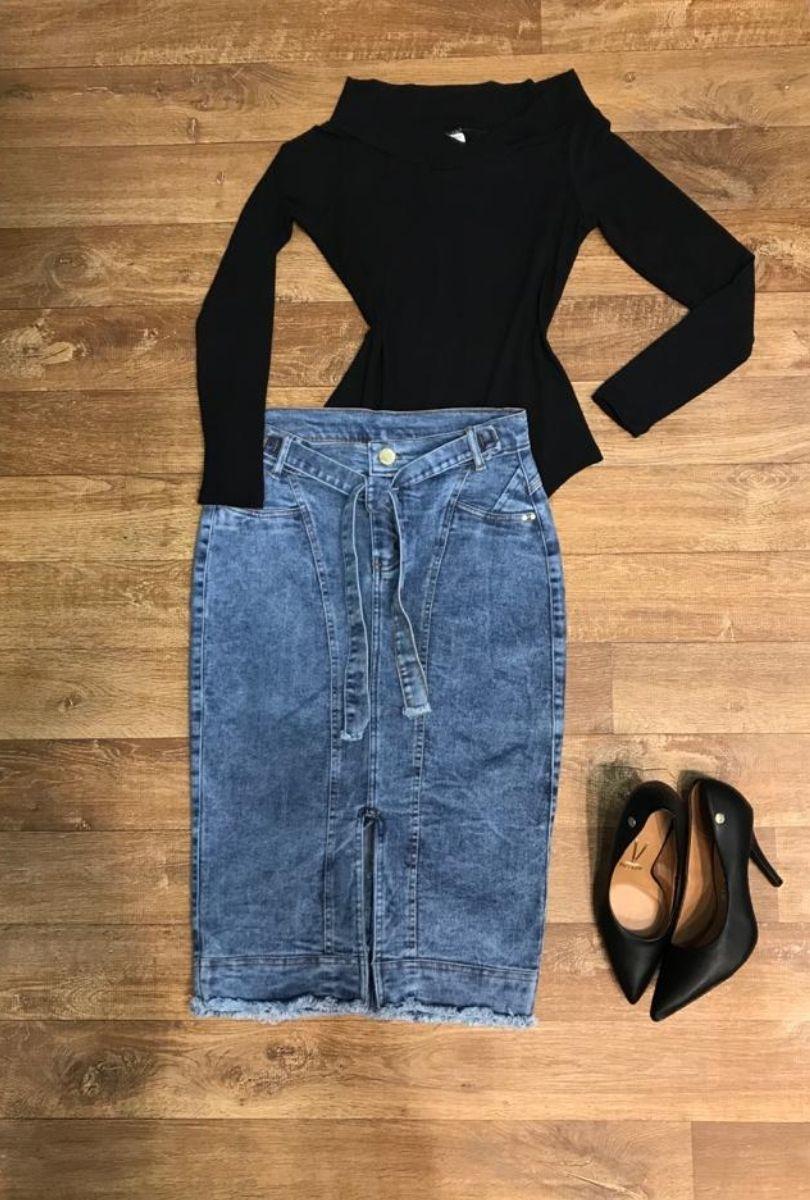 Saia Jeans Feminina Midi com Fenda e Cinto  - ModaStore