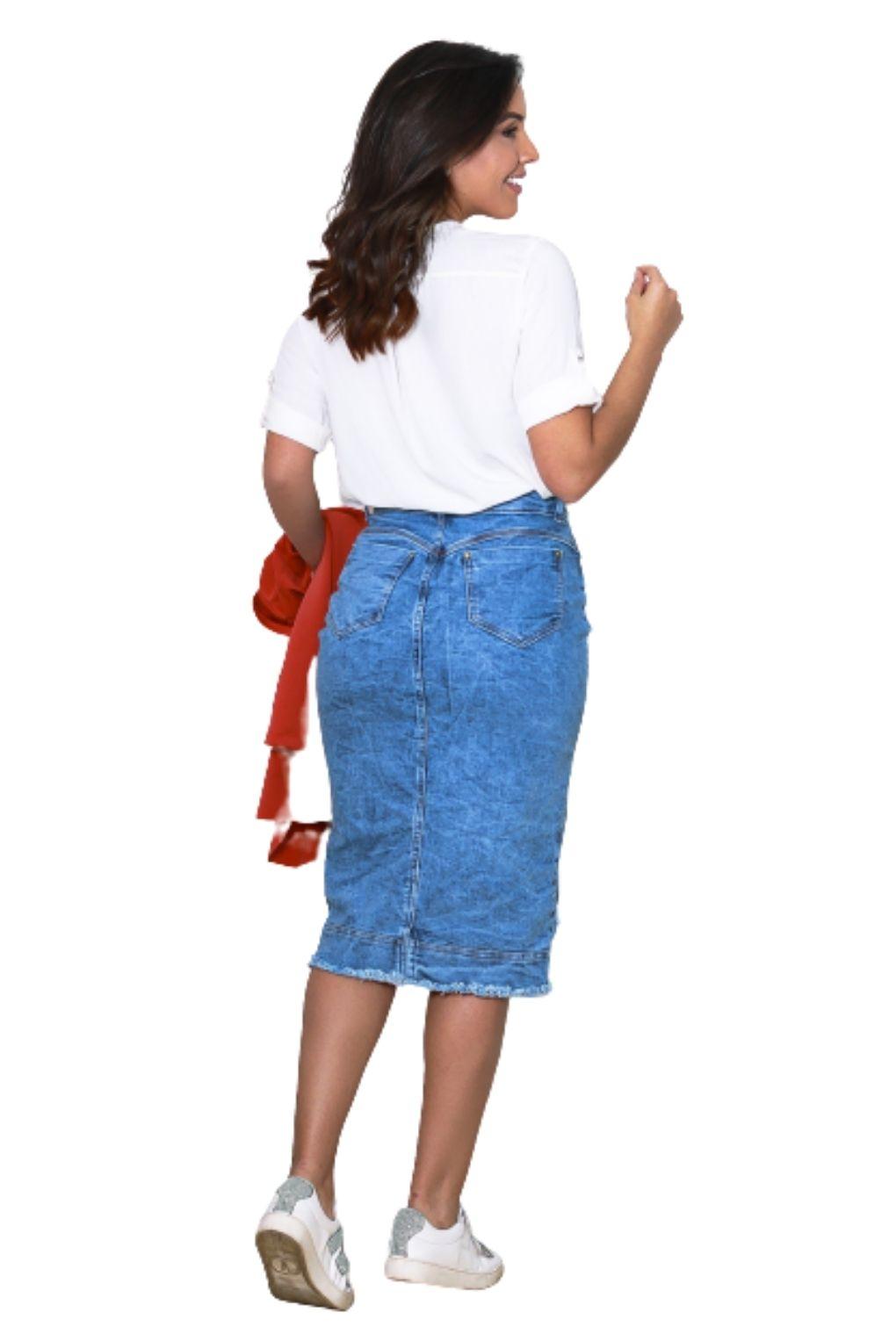 Saia Jeans Feminina Midi com Fenda e Cinto  - ModaStore   Moda Feminina