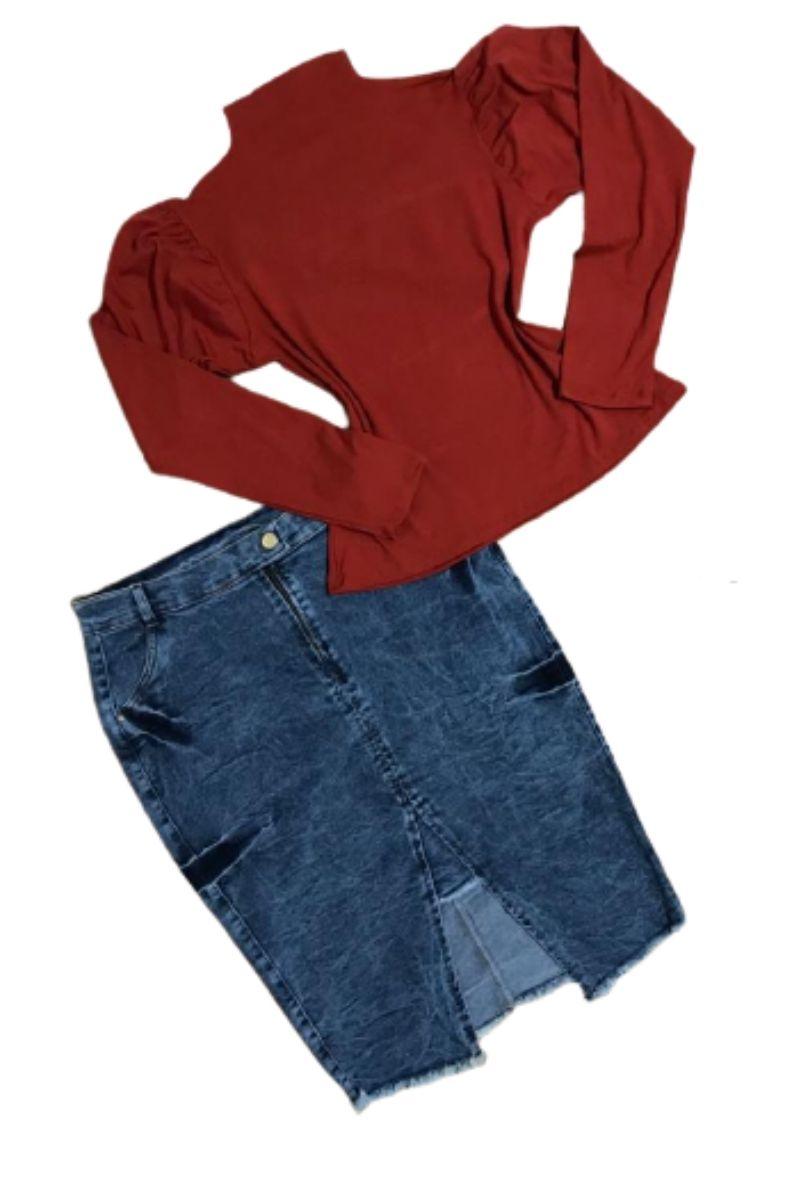 Saia Jeans Feminina Plus Size Mescla  - ModaStore   Moda Feminina
