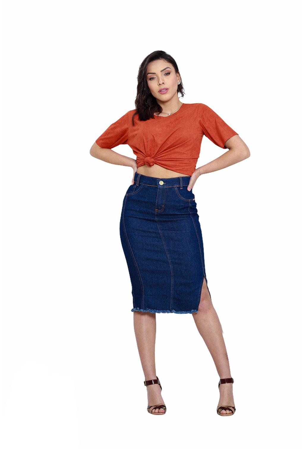 Saia Jeans Midi Secretária Fenda Lateral Feminina  - ModaStore | Moda Feminina