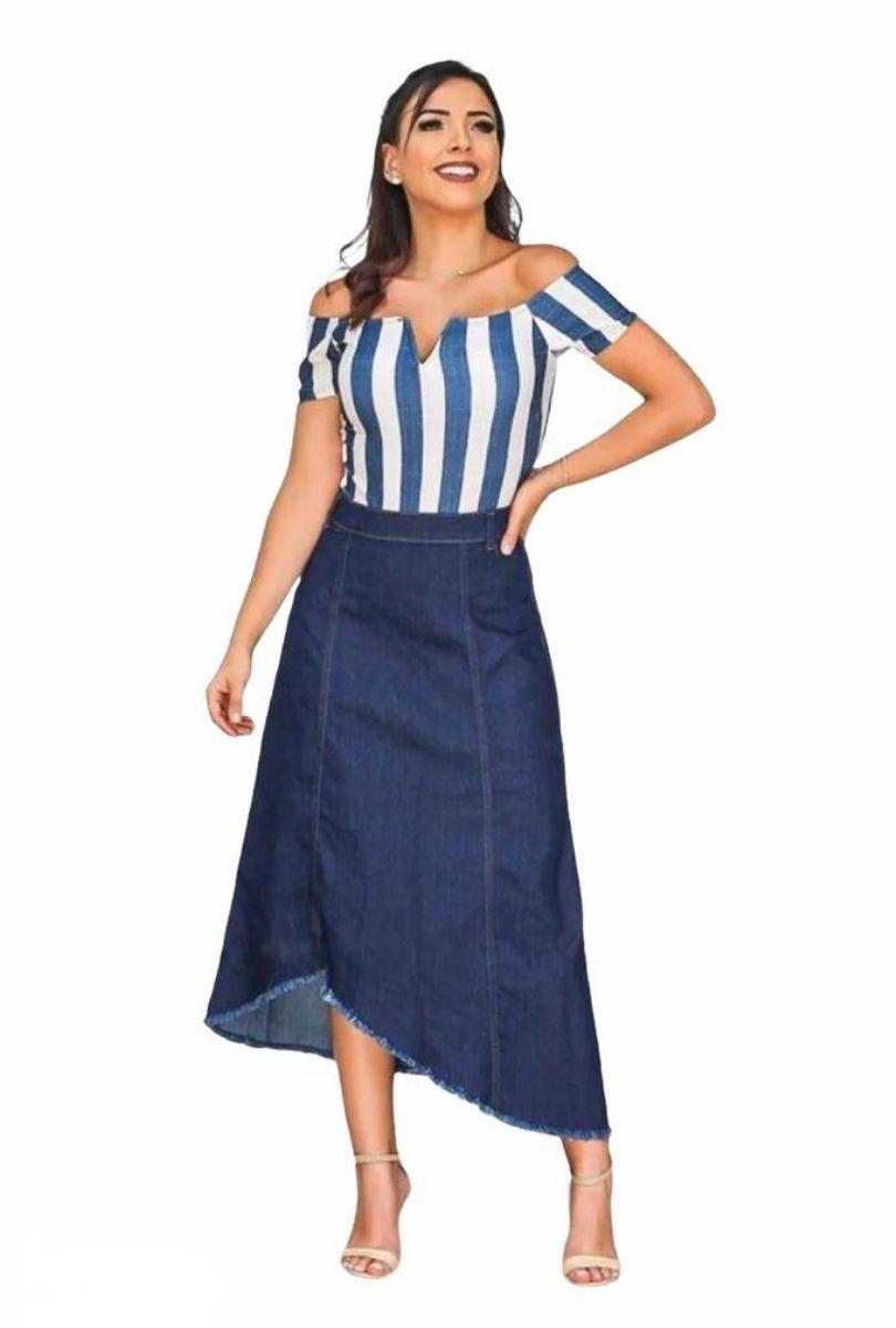 Saia Jeans Midi  - ModaStore | Moda Feminina