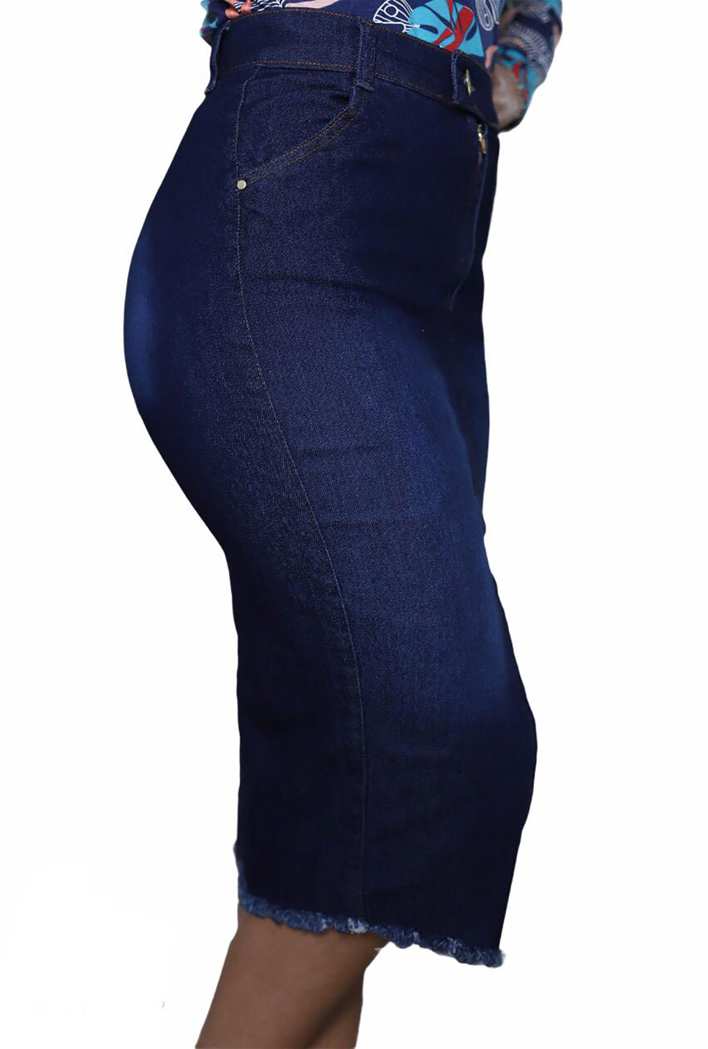 Saia Jeans Midi Abertura Frontal Moda Evangélica  - ModaStore   Moda Feminina