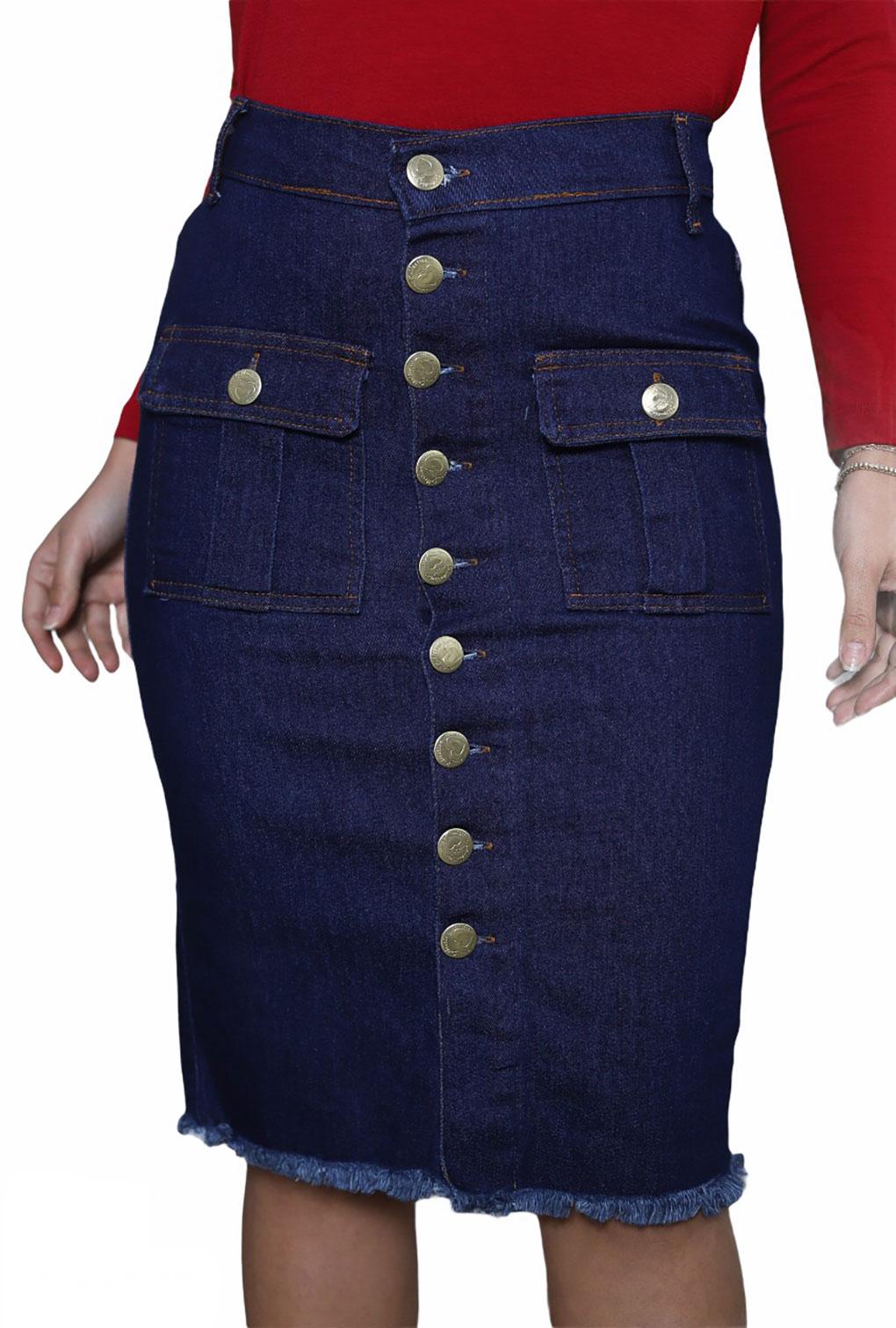 Saia jeans Midi Feminino Com Detalhe Botões  - ModaStore | Moda Feminina