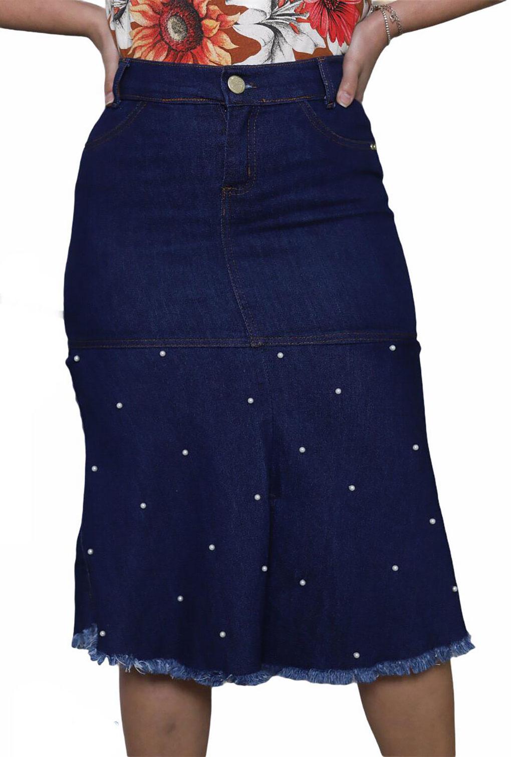 Saia Jeans Midi Babado Com Detalhe Perola  - ModaStore | Moda Feminina