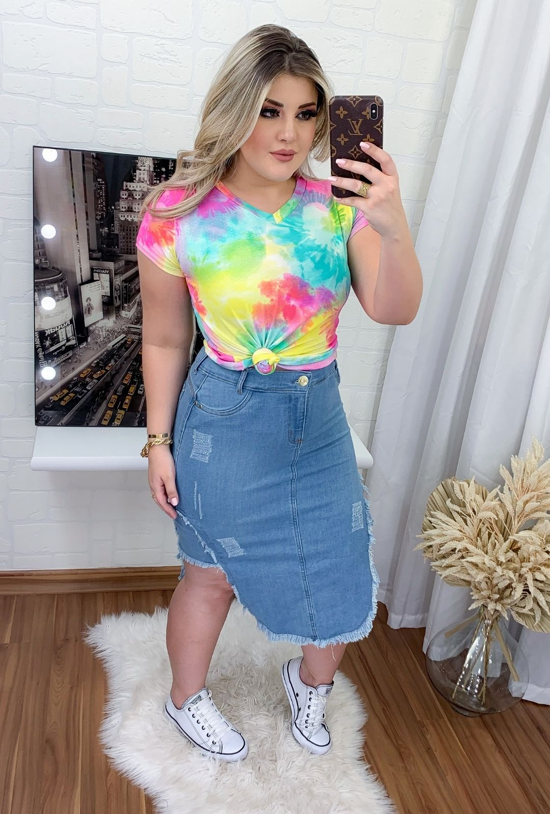 Saia Jeans Midi Destroyed Clara  - ModaStore | Moda Feminina